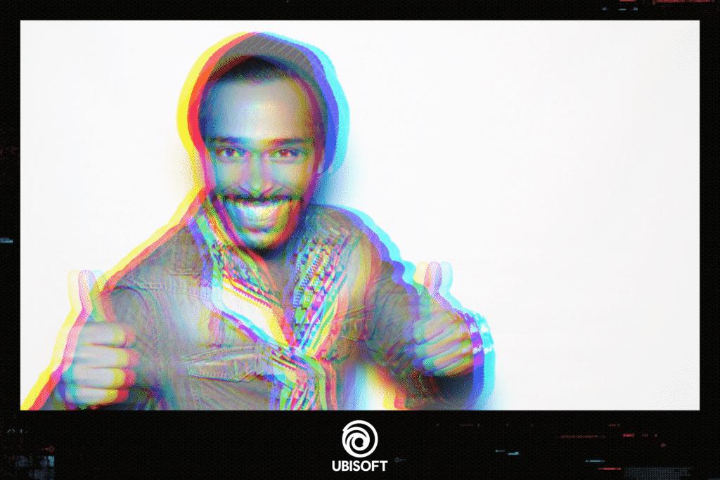 Événement Ubisoft pour la sortie de Watch Dogs: Legion avec une animation photobooth et filtre Glitch Art